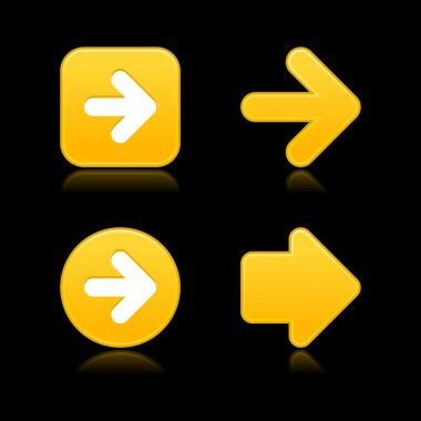 Satin smooth yellow arrow sign web 2.0 buttons with shadow on gray background