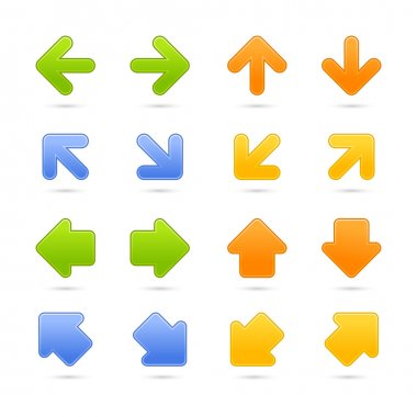Colored web button arrow set with shadow on white