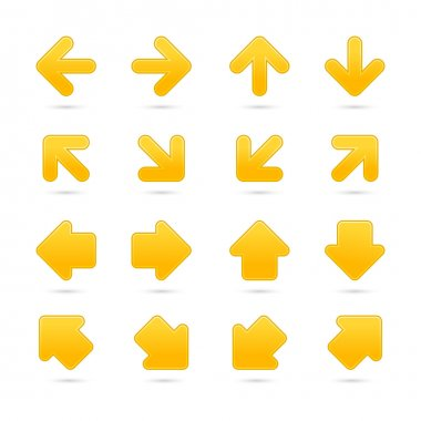 Yellow arrow sign sticker web button. Vector saved in EPS 10. Blank satin shapes with gray drop shadow on white background.