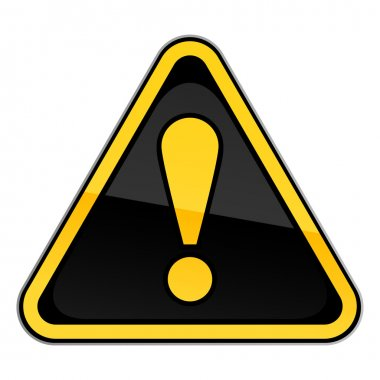 Yellow hazard warning attention sign with exclamation mark on white