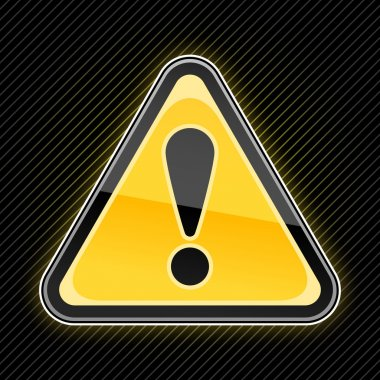 Glossy warning sign with exclamation mark symbol on black background