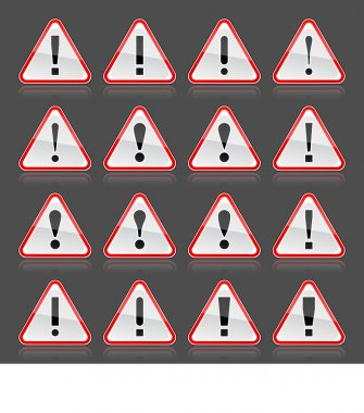 Red warning attention sign with exclamation mark. Rounded triangle shape with color reflection on gray background. 10 eps