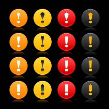 16 colored round warning sign web 2.0 button with exclamation mark