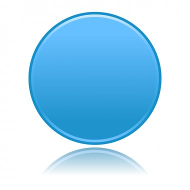 Blue round blank matted color buttons on white background
