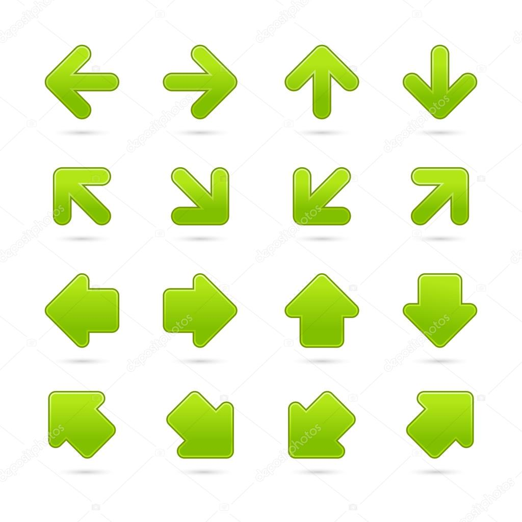 Green arrow sign sticker web button. Vector saved in EPS 10. Blank satin shapes with gray drop shadow on white background.