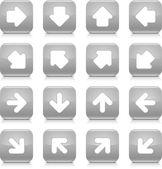 šedý lesklý web tlačítko s bílou šipkou. zaoblený tvar ikonu internet s stín a reflexe na bílém pozadí. Tato vektorové ilustrace uložené v 8 eps