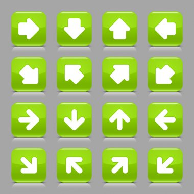 Green glossy web button with white arrow sign. Rounded square shape internet icon with shadow and reflection on light gray background. This vector illustration created and saved in 8 eps