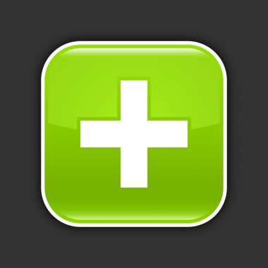 Green glossy web 2.0 icon with plus sign