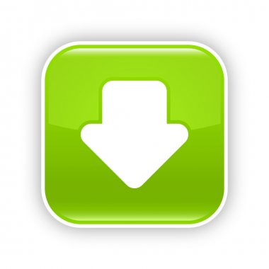 Green glossy web 2.0 button with download arrow sign. Rounded square sticker with shadow on white. 10 eps