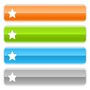Star sign web 2.0 navigation panel. Colored glossy internet buttons with shadow on white background
