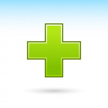 Green plus icon web 2.0 button with gray drop shadow on white background