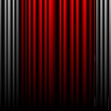 Closed gray and red theater curtains