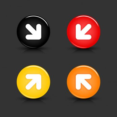 Color web 2.0 button with white arrow symbol. Round shapes with reflection and shadow on gray background. 10 eps