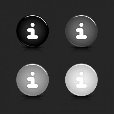 Grayscale glossy round web 2.0 button info icon with reflection and shadow on gray. 10 eps