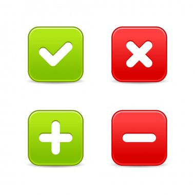 4 web 2.0 buttons of validation icons. Colored smooth shapes with shadow on white.