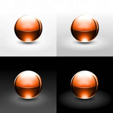 Brown chrome metal ball with black shadow and glowing on white, gray and black background.