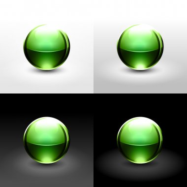 Green chrome metal ball with drop black shadow and glowing on white, gray and black background.