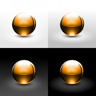 Orange chrome metal ball with black shadow and glowing on white, gray and black background.