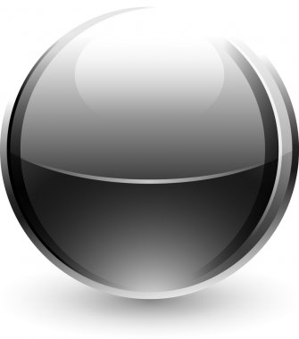 Chrome metal ball with black drop shadow on white background. This vector illustration saved 10 eps