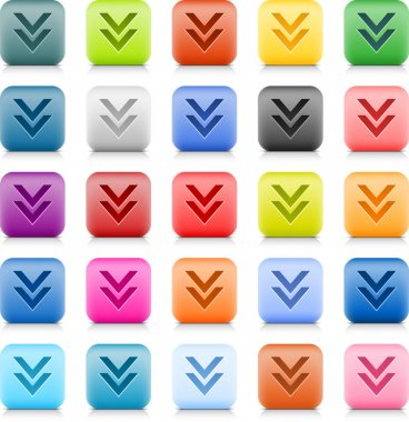 Stone web button with color download sign. 25 variation rounded square icon with shadow and reflection on white background. This vector created in technique of wire mesh and saved file 8 eps