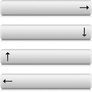 Web 2.0 button navigation panel with arrow sign. White stone rounded rectangle shapes with shadow and reflection on white