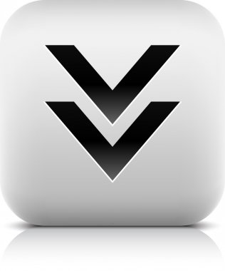 Stone web 2.0 button download symbol arrow sign. White rounded square shape with black shadow and gray reflection on white background. This vector illustration created and saved in 8 eps
