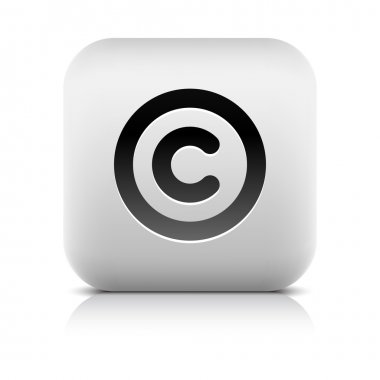 Stone web 2.0 button copyright symbol sign. White rounded square shape with shadow and reflection. White background