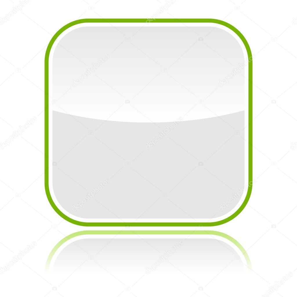botón web en blanco vidrioso gris con marco verde y reflexión ...