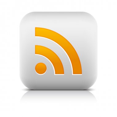 White stone web 2.0 button with orange RSS sign. Rounded square icon with shadow and reflection on white. 10 eps