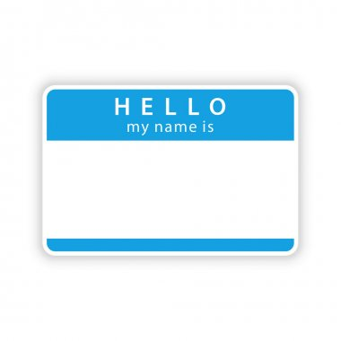 Blue name tag sticker with shadow on white