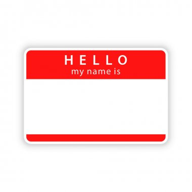 Red name tag empty sticker HELLO my name is with drop gray shadow on white background. Vector illustration clip-art element for design saved in 10 eps