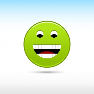 Green smiley face web 2.0 button with gray drop shadow on white background