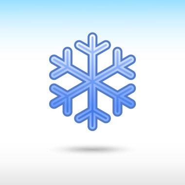 Blue satin snowflake sign web icon.