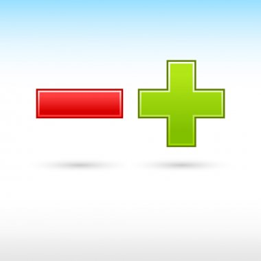 Validation button red minus and green plus web icon mathematical sign with shadow on white background clip art vector