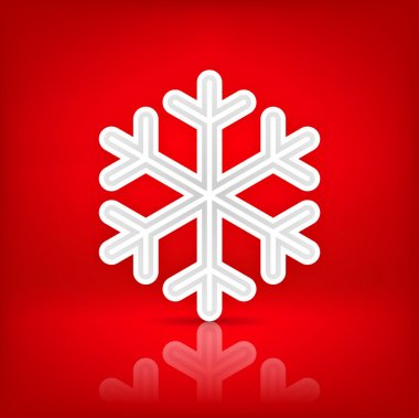 White satin snowflake sign with dark drop shadow on red background. This vector illustration saved in 10 eps