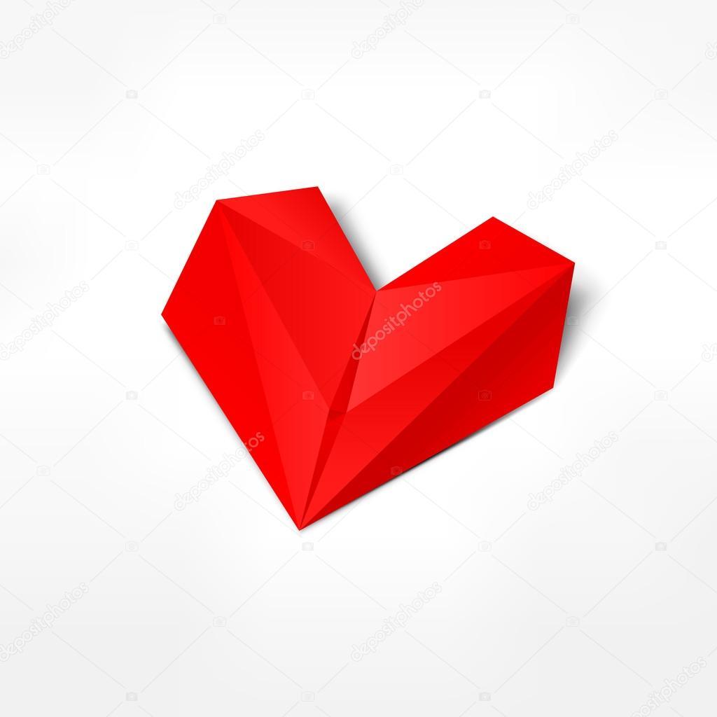 Corazon De Origami De Papel Rojo Con Sombra Gris Sobre Fondo Blanco - Origami-corazn