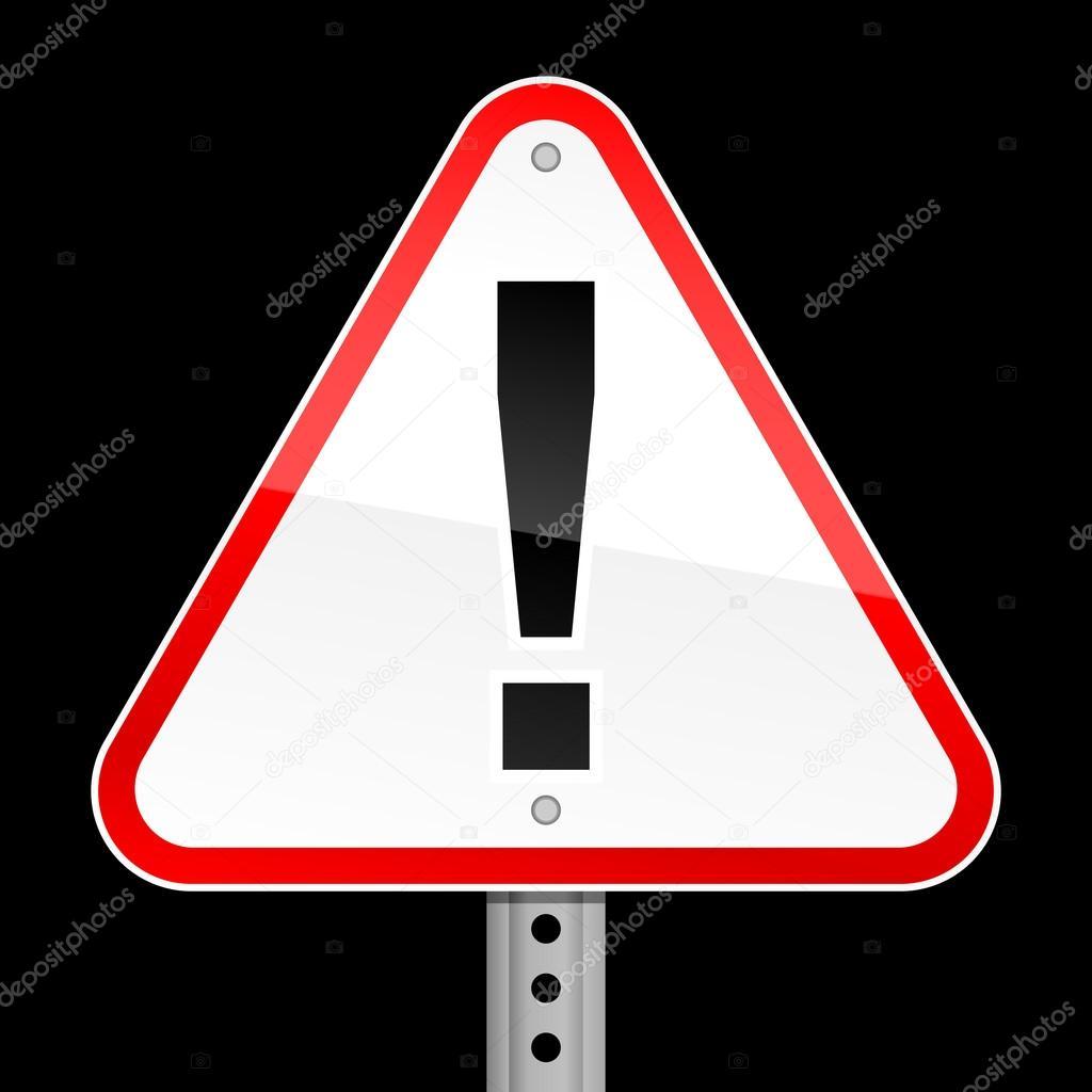 panneau d 39 avertissement triangulaire route rouge avec le symbole de point d 39 exclamation sur fond. Black Bedroom Furniture Sets. Home Design Ideas