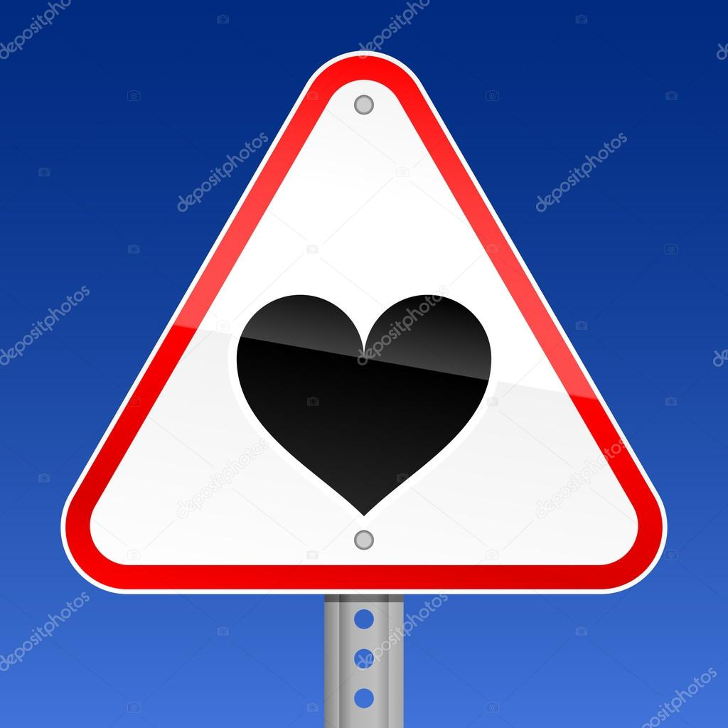 Triangular red road warning sign with heart symbol on sky background