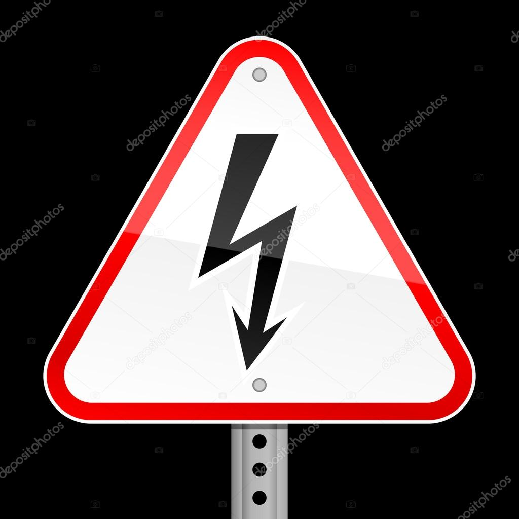 Triangular Red Road Warning Sign With High Voltage Symbol On Black