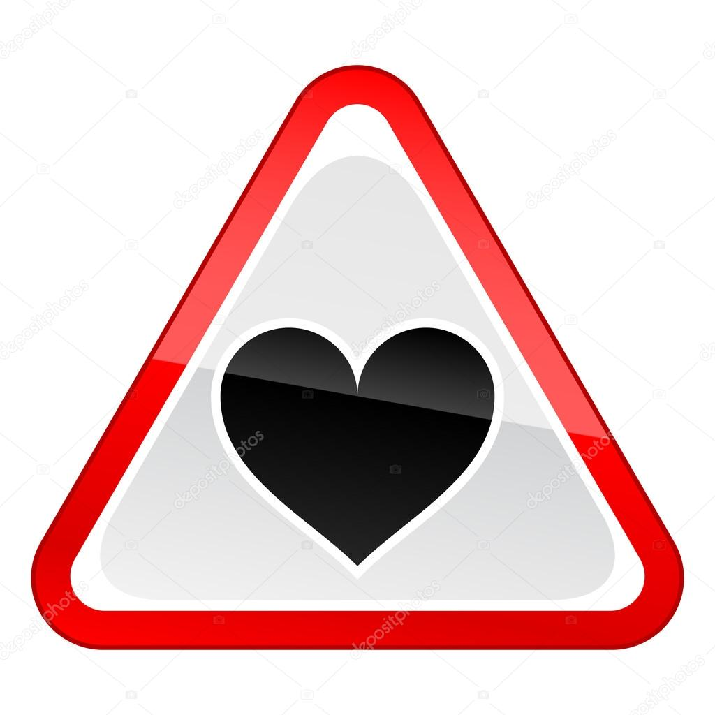 Red attention hazard warning sign with heart symbol with reflection on white background