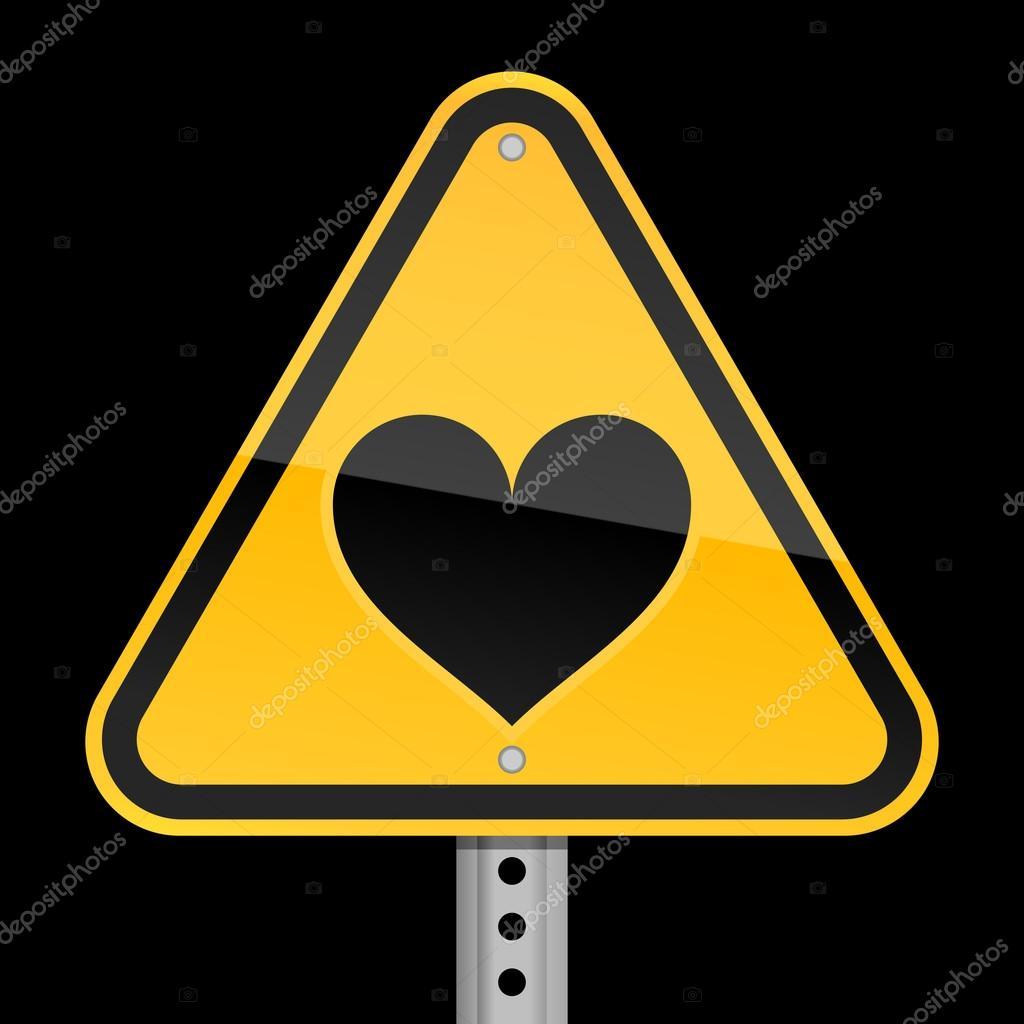 Yellow road hazard warning sign with heart symbol on black background