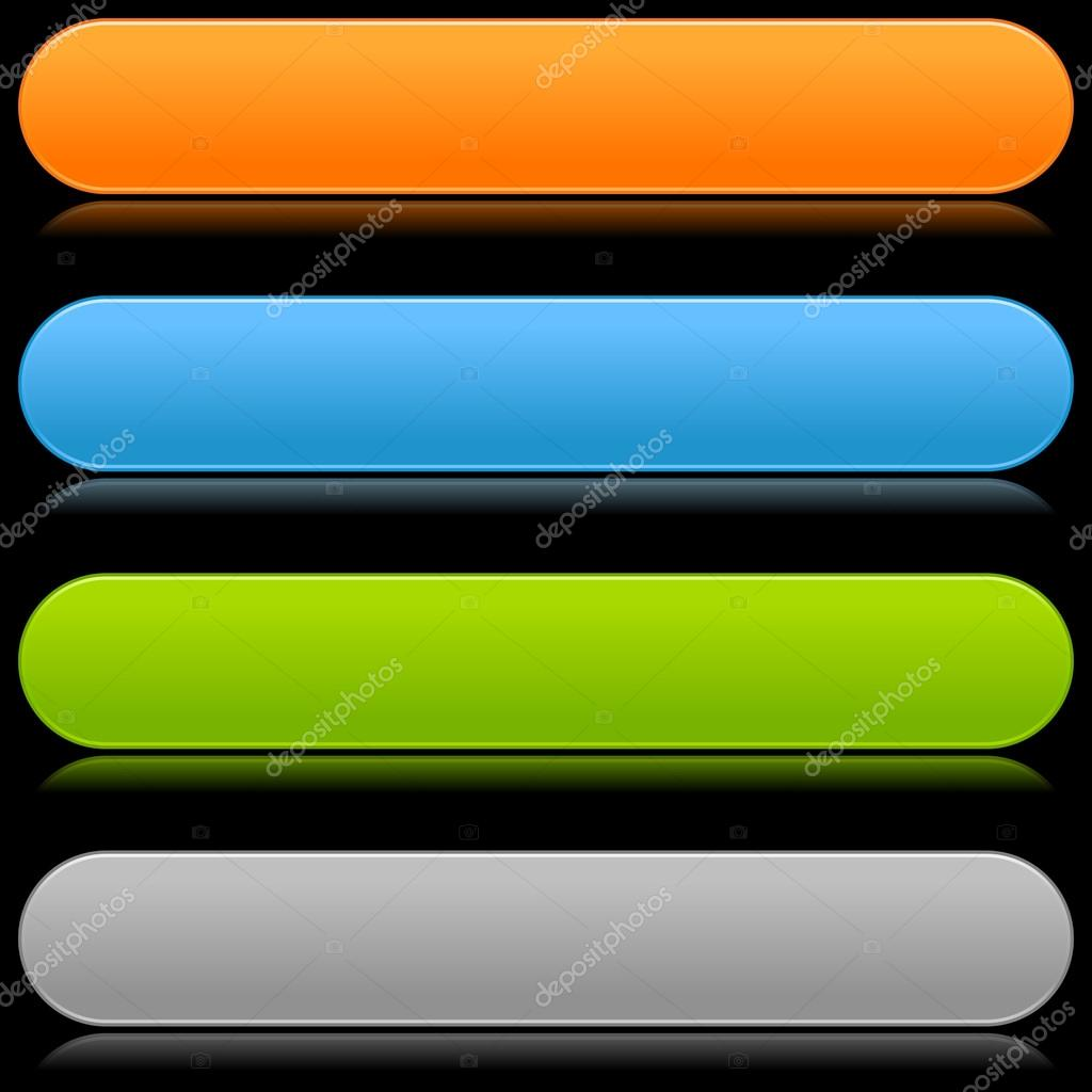 Glossy rounded blank color long buttons on black — Stock Vector ...