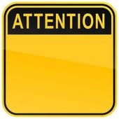 žluté varování prázdné pozornost na bílém pozadí