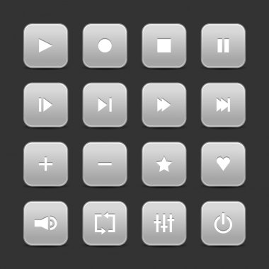 16 media control web 2.0 buttons. Gray round shapes with shadow on gray background