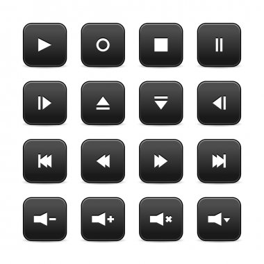 16 media audio video control web 2.0 buttons. Black rounded square shapes with shadow on white background