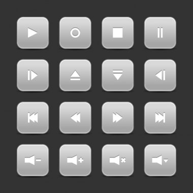 16 media control web 2.0 buttons. Gray rounded square with shadow on gray background