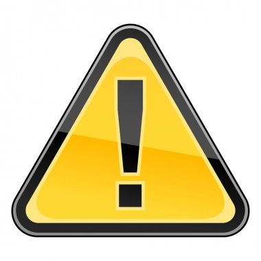 Hazard warning attention sign with exclamation mark symbol on