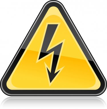 Yellow hazard warning sign with high voltage symbol on white background