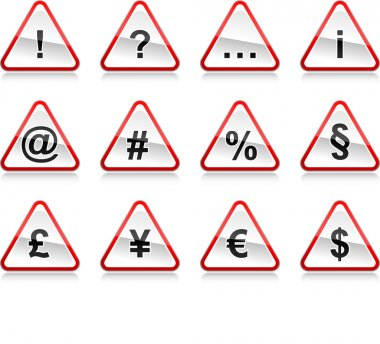 Red warning signs with symbols. Rounded triangle shape with color reflection on white background. 10 eps