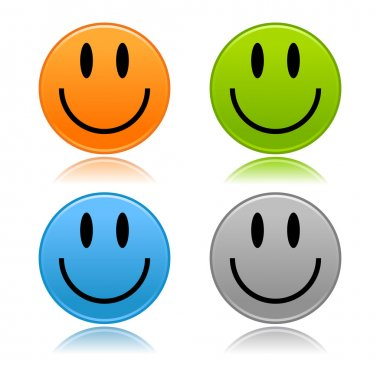 Matted colored color smiley faces with reflection on white